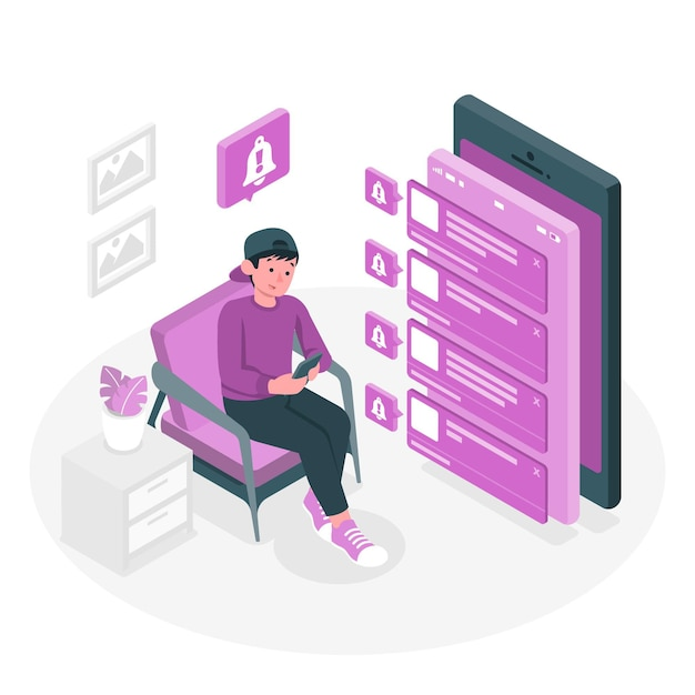 Push notifications concept illustration Free Vector