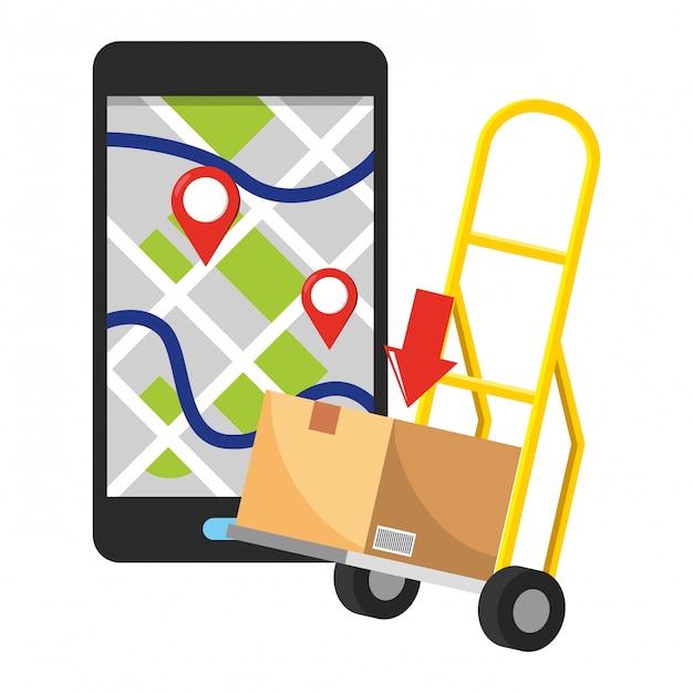 Pushcart with box illustration Premium Vector