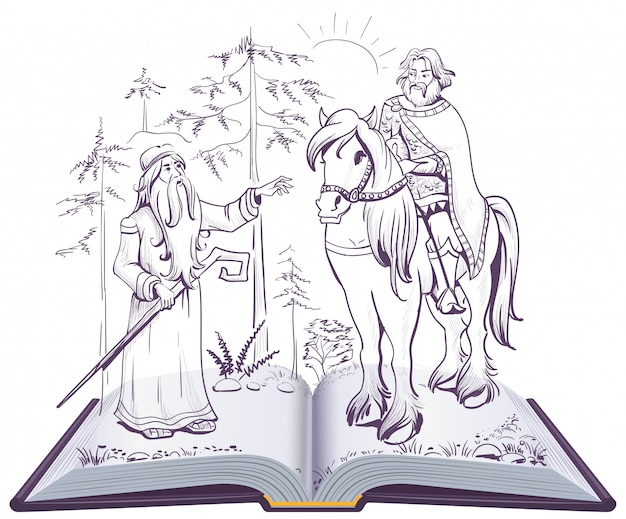 預言者オレグのプーシキン童話歌開いた本の図 Premiumベクター