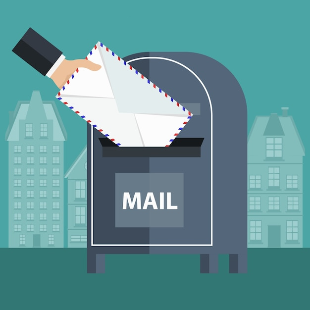 Putting an envelope in a mailbox Free Vector
