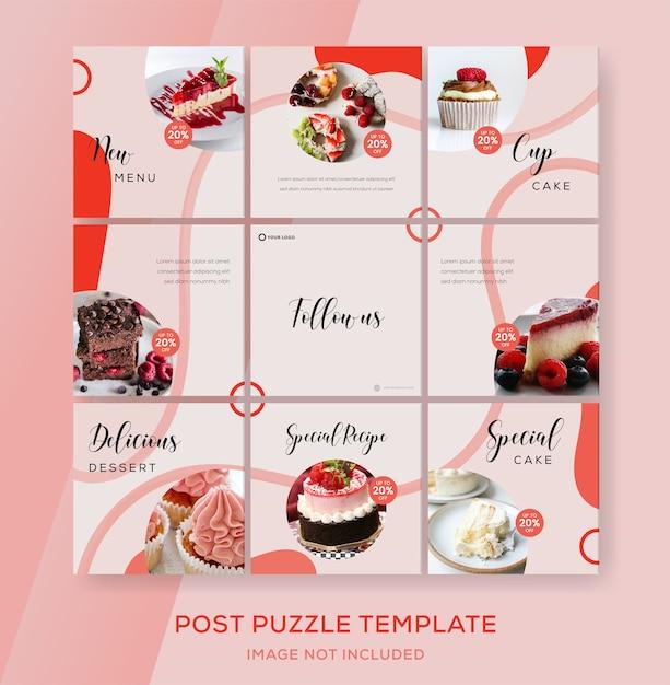 Пазл баннер подача instagram для торта Premium векторы
