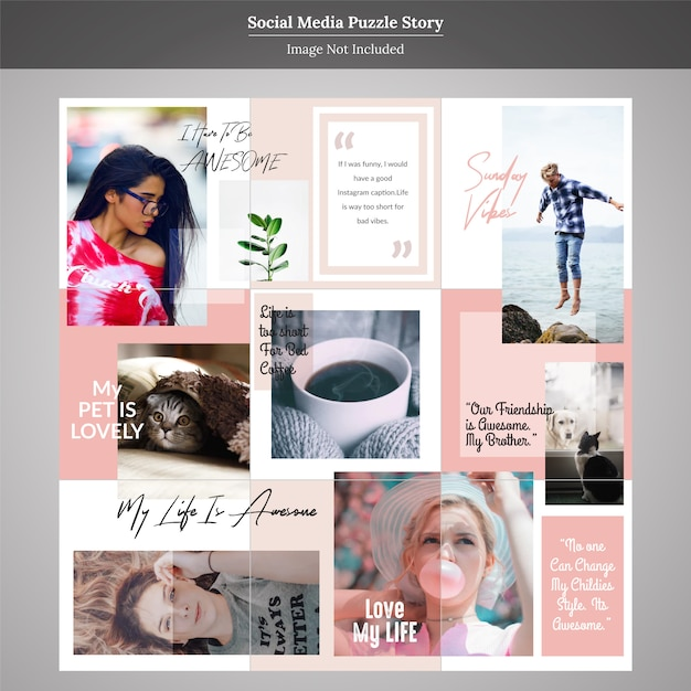 Puzzle fashion social media story post template Premium Vector