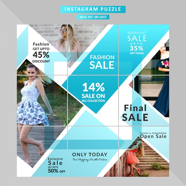 Puzzle fashion web banner for social media post Premium Vector