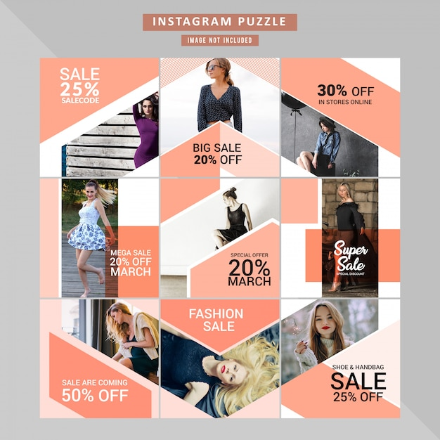Puzzle fashion web banner for social media Premium Vector