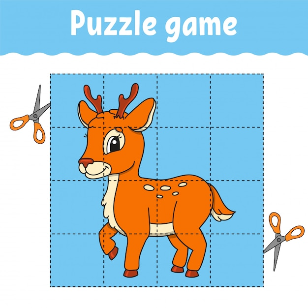 Puzzle game for kids. education developing worksheet. learning game for children. activity page. for toddler. Premium Vector