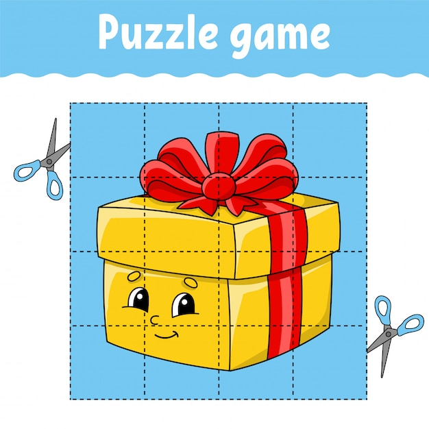 Puzzle game for kids. education developing worksheet. learning game for children. Premium Vector