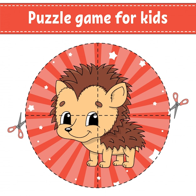Puzzle game for kids. Premium Vector