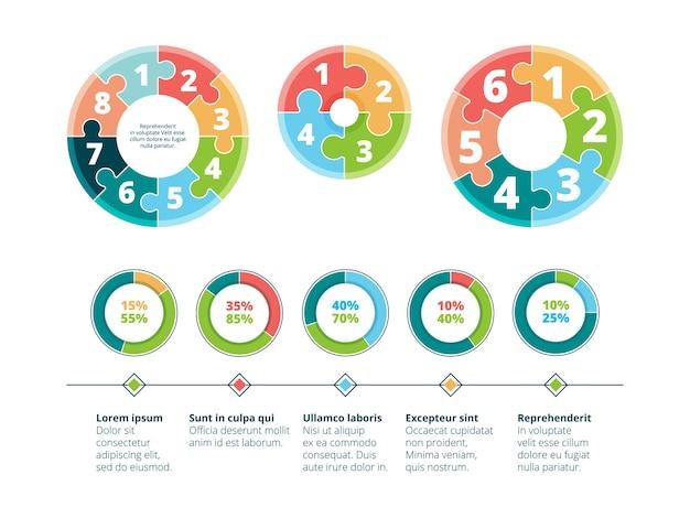 Puzzle infographic. business success steps idea advertising presentation circle puzzles Premium Vector