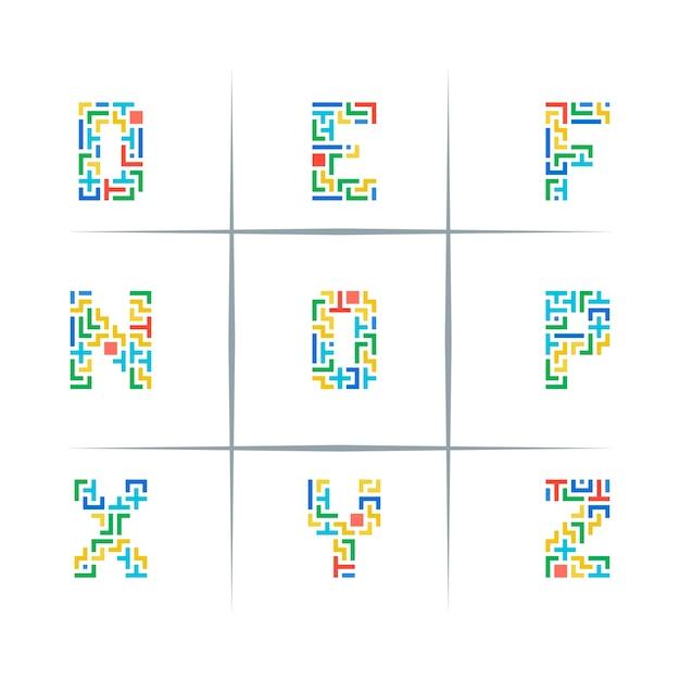 Puzzle letter logo design set Premium Vector