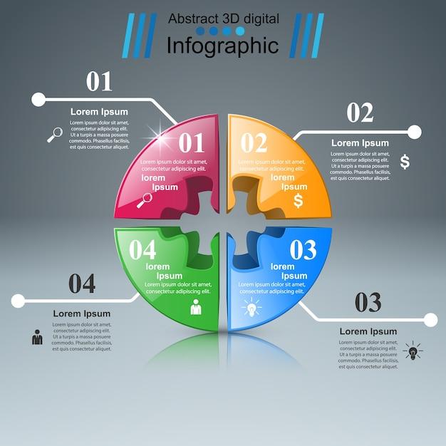 Puzzle logo. business infographics. Premium Vector