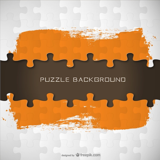 Puzzle Pieces And Orange Brush Stroke Vector