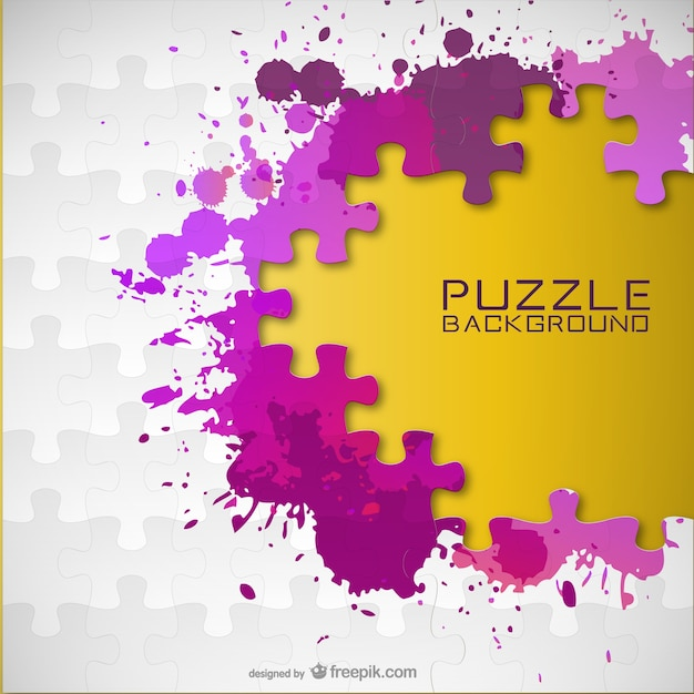 Puzzle pieces and paint splashes Free Vector