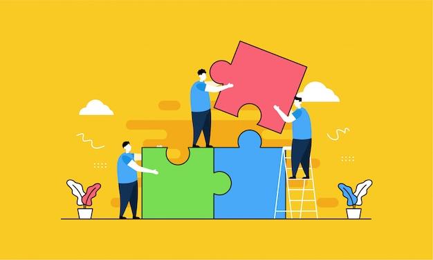 Puzzle teamwork landing page Premium Vector