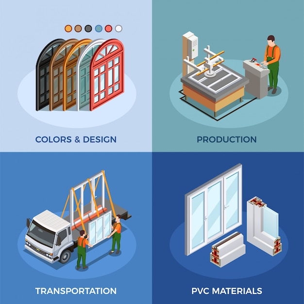 Pvc windows production and transportation Free Vector