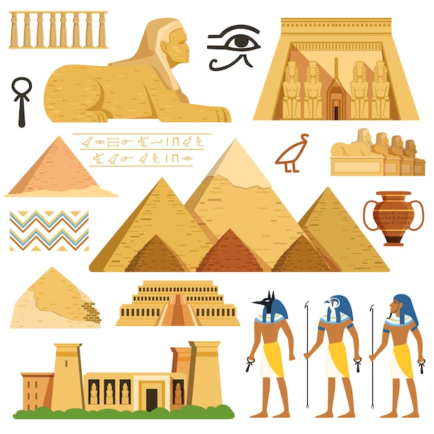 Pyramid of egypt and cultural objects and symbols of egyptians Premium Vector