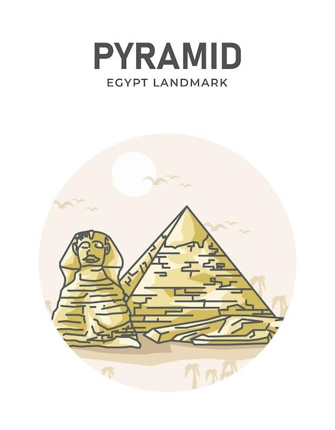 ピラミッドエジプトランドマークポスター Premiumベクター