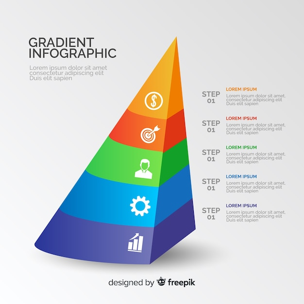 Pyramid gradient infographic with colours Free Vector