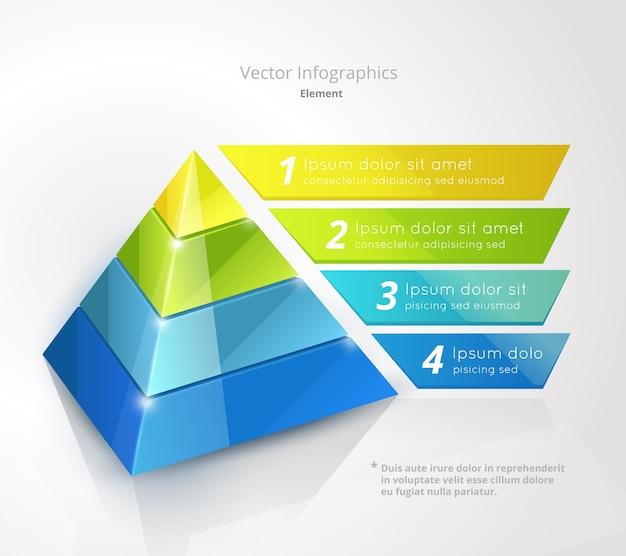 Пирамида инфографики дизайн шаблона Бесплатные векторы