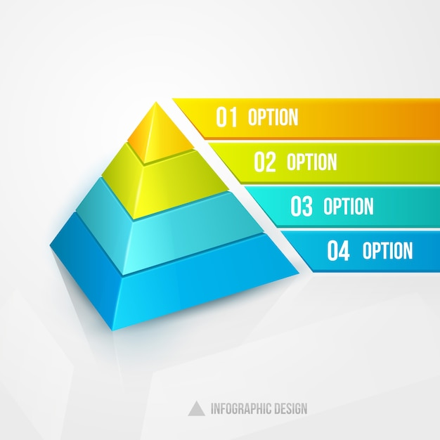Pyramid infographic design vector illustration isolated on white Free Vector