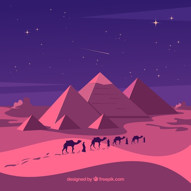 Pyramid landscape with caravan at night Free Vector