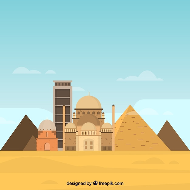 Pyramid landscape with mosque