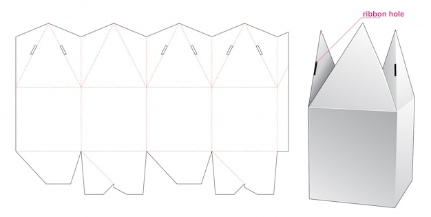 Pyramid top packaging box die cut template design Premium Vector
