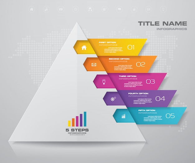Pyramid with free space for text on each level. Premium Vector
