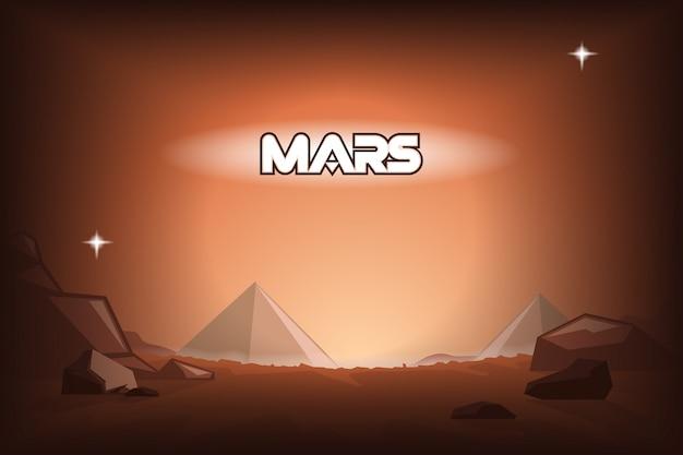Pyramids on mars. Premium Vector