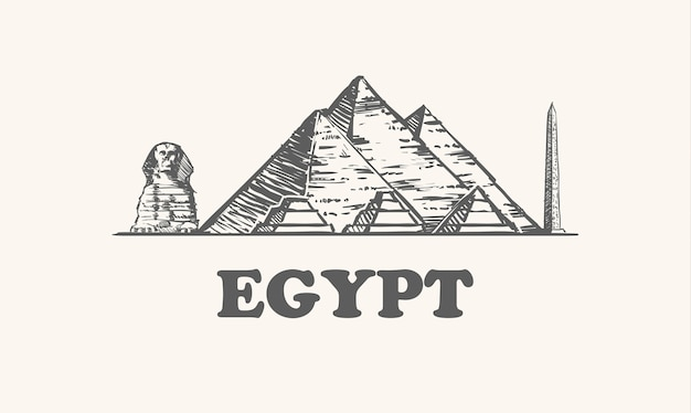 Pyramids, sphinx and obelisk in egypt Premium Vector