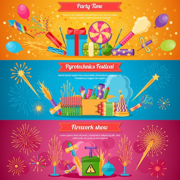 Pyrotechnics festival flat banners Free Vector