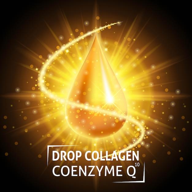 血清コラーゲンコエンザイムq10、リアルなゴールデンドロップ。 Premiumベクター