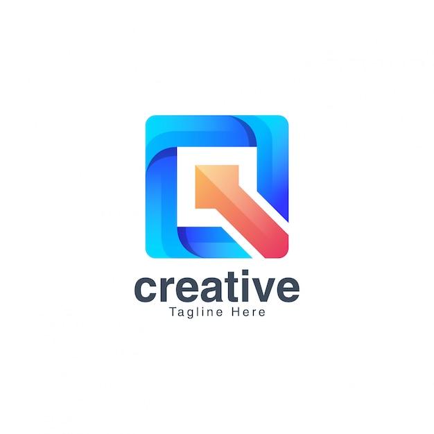 Красочная буква q логотип дизайн вектор шаблон Premium векторы