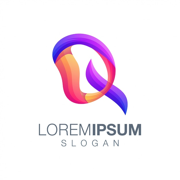 Шаблон логотипа цвета градиента буквы q Premium векторы