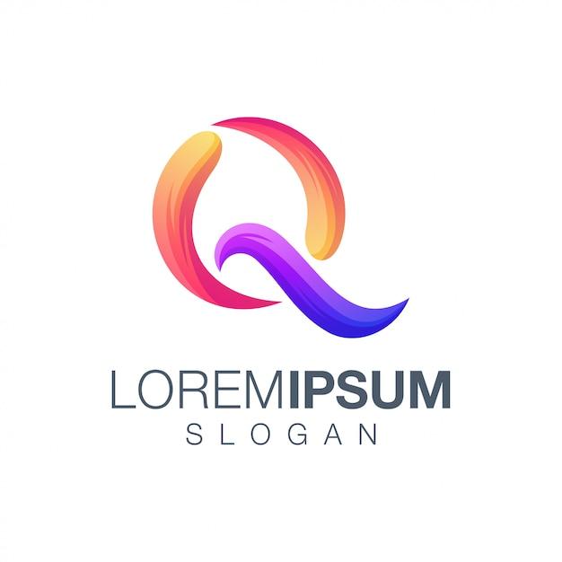 Буква q градиент цвета логотипа Premium векторы
