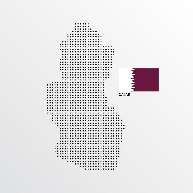 Qatar map design with flag and light background vector ...