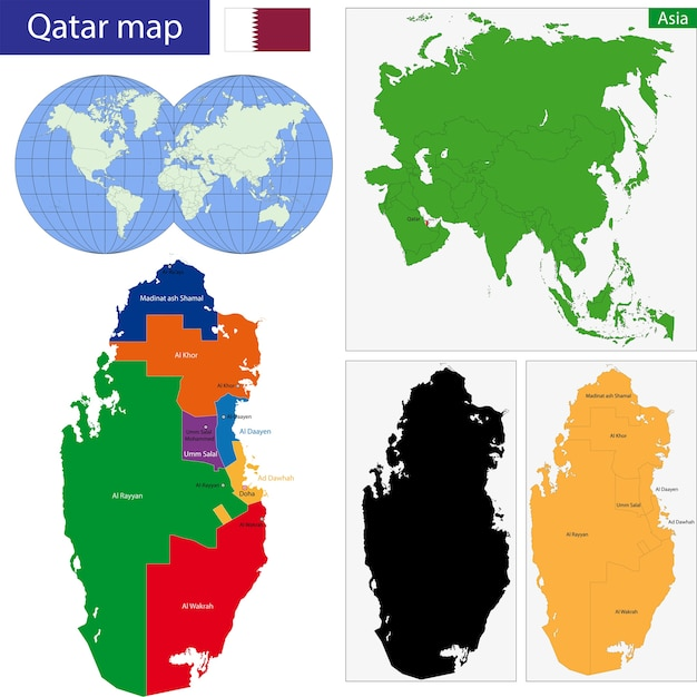 Qatar map Vector | Premium Download