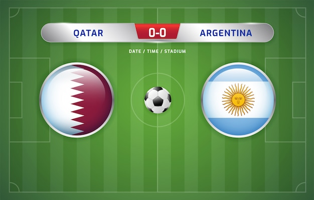 Qatar vs argentina scoreboard broadcast soccer south america's tournament 2019, group b Premium Vector
