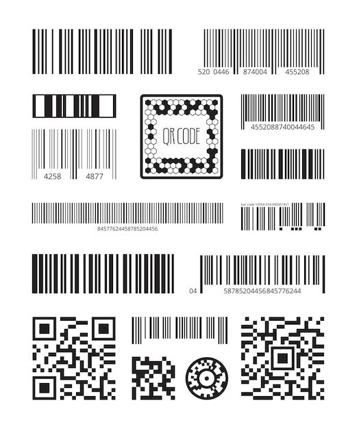 Qrコード。バーコードスキャン製品シンボルレーザーコードメッセージベクトルセット。イラストコードスキャン、qrおよび番号追跡またはスキャンストライプ Premiumベクター