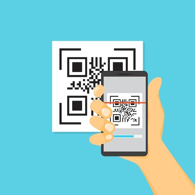 Qrコードのコンセプト。スマートフォンを使用してコードをスキャンする Premiumベクター