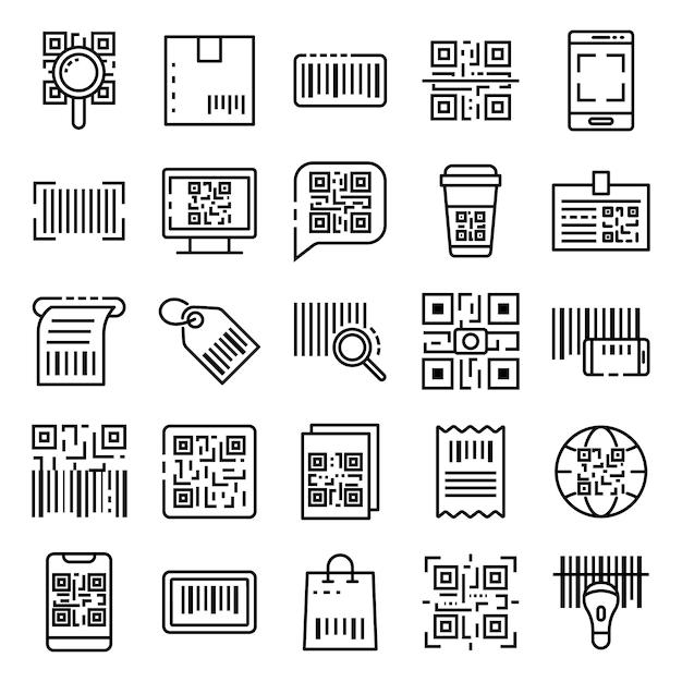 Qr code icons set, outline style Premium Vector