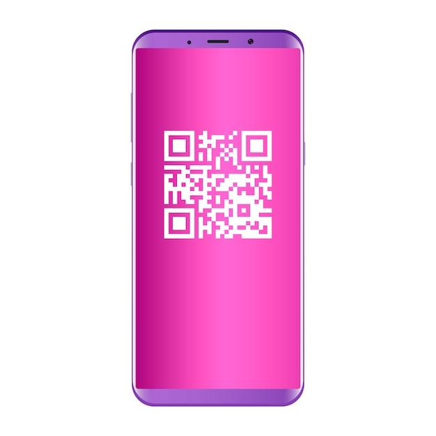 携帯電話の画面にqrコード。フラットの概念 Premiumベクター