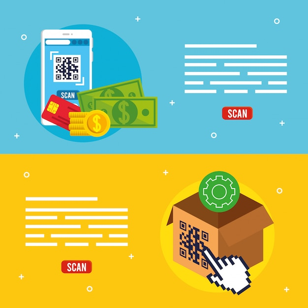 Qr code inside smartphone and box vector design Free Vector