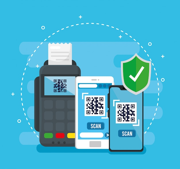 スマートフォンのデータフォンとシールドのベクターデザイン内のqrコード 無料ベクター