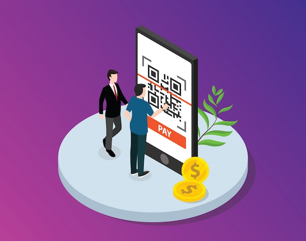Qr-code isometric with business man Premium Vector