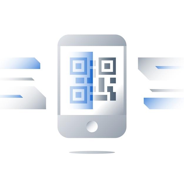 携帯電話の画面イラストのqrコード Premiumベクター
