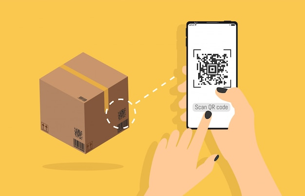 Qr code related vector line icons scanning delivery box on smartphone, mobile realistic style in hand, identification product in shop, scan data with using. Premium Vector