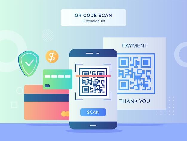 Набор иллюстраций сканирования qr-кода qr-код на дисплее экрана смартфона фон щитка доллара банковской карты с плоским дизайном Premium векторы