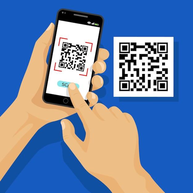 Сканирование qr-кода по концепции смартфона Бесплатные векторы
