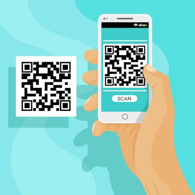 Qr-код сканирования на смартфоне Бесплатные векторы