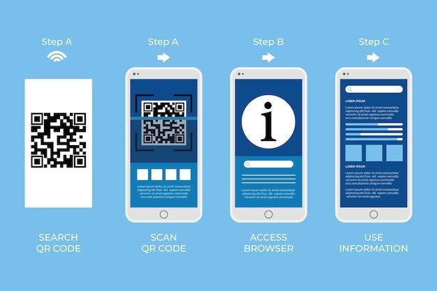 Шаги сканирования qr-кода по концепции смартфона Бесплатные векторы